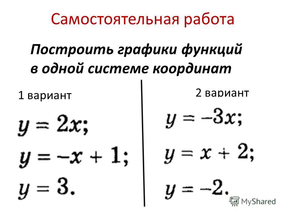 Самостоятельная работа 1 вариант 2 вариант Построить графики функций в одной системе координат