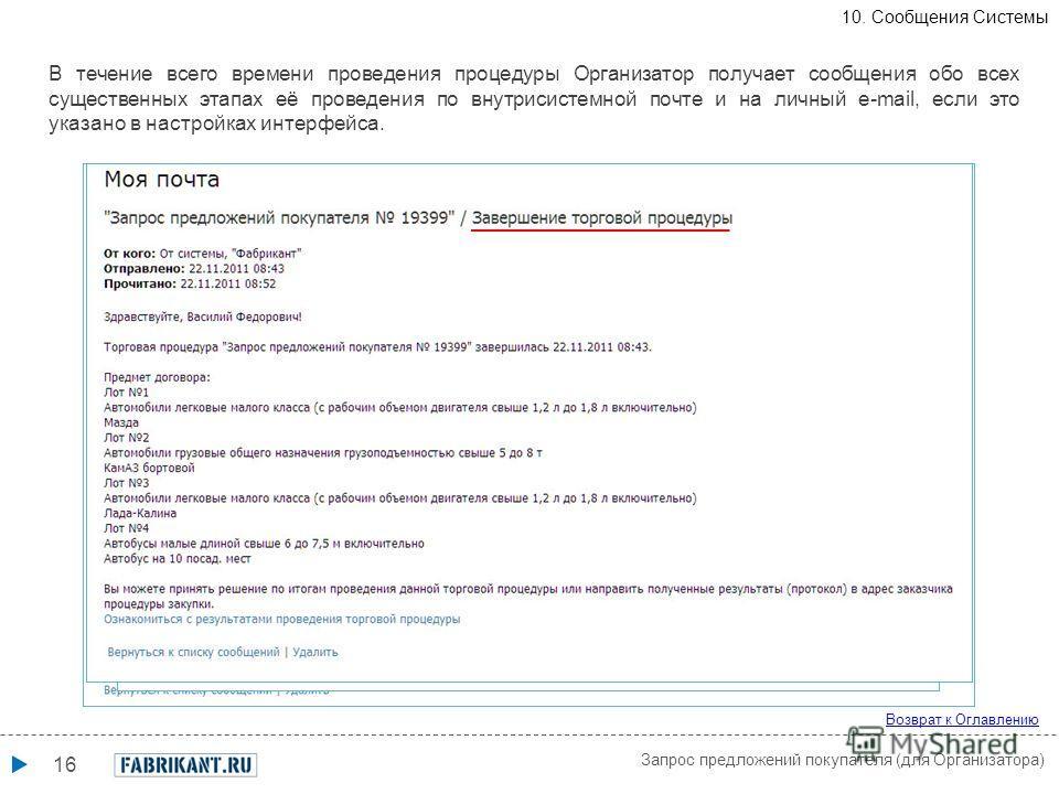 16 Возврат к Оглавлению Запрос предложений покупателя (для Организатора) В течение всего времени проведения процедуры Организатор получает сообщения обо всех существенных этапах её проведения по внутрисистемной почте и на личный e-mail, если это указ