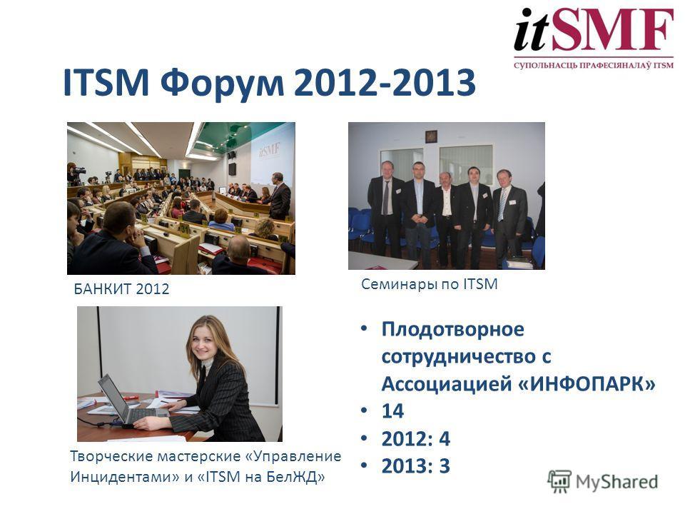 ITSM Форум 2012-2013 БАНКИТ 2012 Творческие мастерские «Управление Инцидентами» и «ITSM на БелЖД» Семинары по ITSM Плодотворное сотрудничество с Ассоциацией «ИНФОПАРК» 14 2012: 4 2013: 3