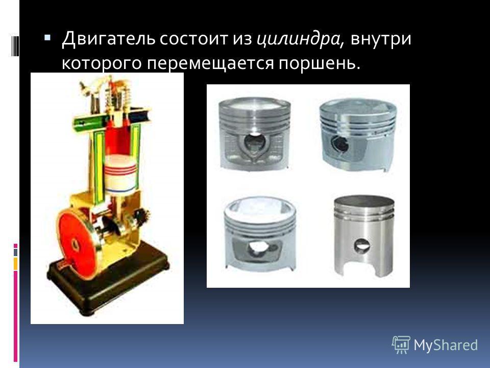 Двигатель состоит из цилиндра, внутри которого перемещается поршень.