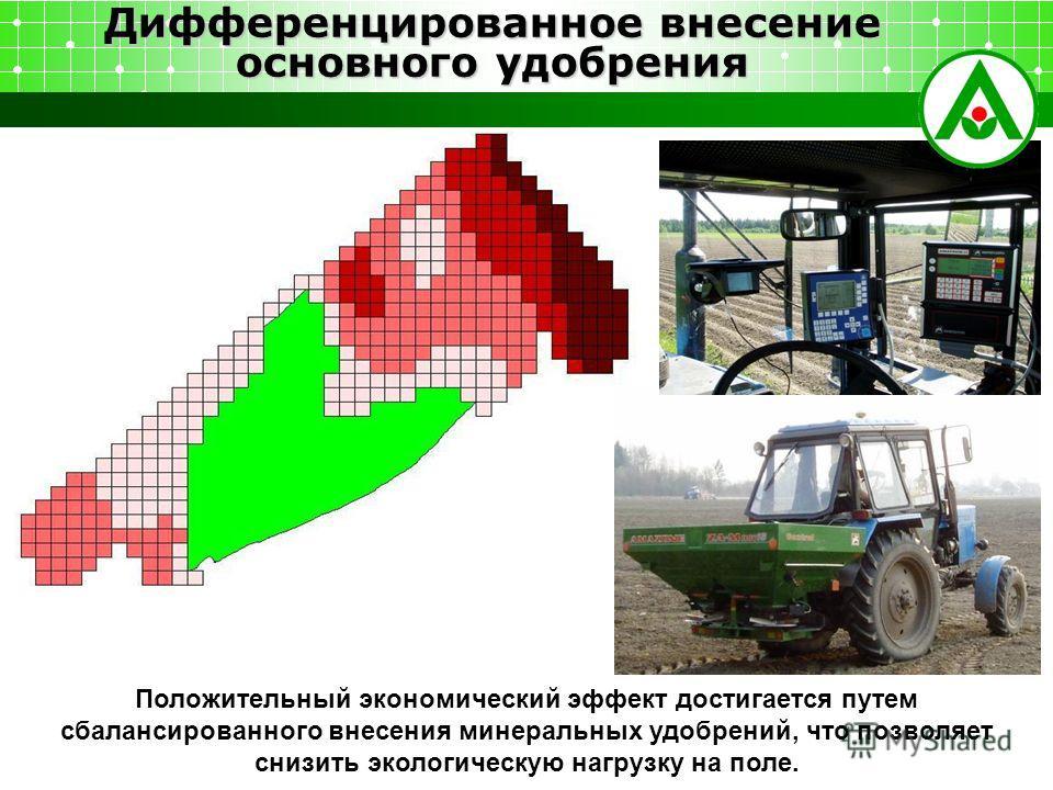 Дифференцированное внесение основного удобрения Положительный экономический эффект достигается путем сбалансированного внесения минеральных удобрений, что позволяет снизить экологическую нагрузку на поле.