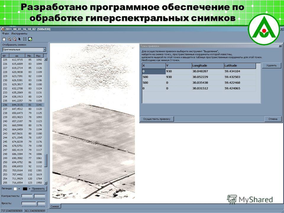 Разработано программное обеспечение по обработке гиперспектральных снимков