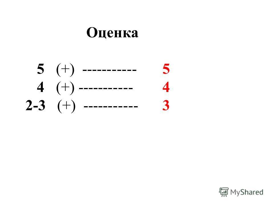 Оценка 5 (+) ----------- 5 4 (+) ----------- 4 2-3 (+) ----------- 3
