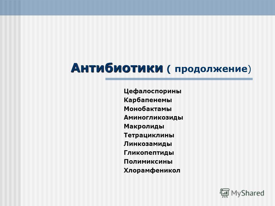 Антибиотики Антибиотики ( продолжение) Цефалоспорины Карбапенемы Монобактамы Аминогликозиды Макролиды Тетрациклины Линкозамиды Гликопептиды Полимиксины Хлорамфеникол
