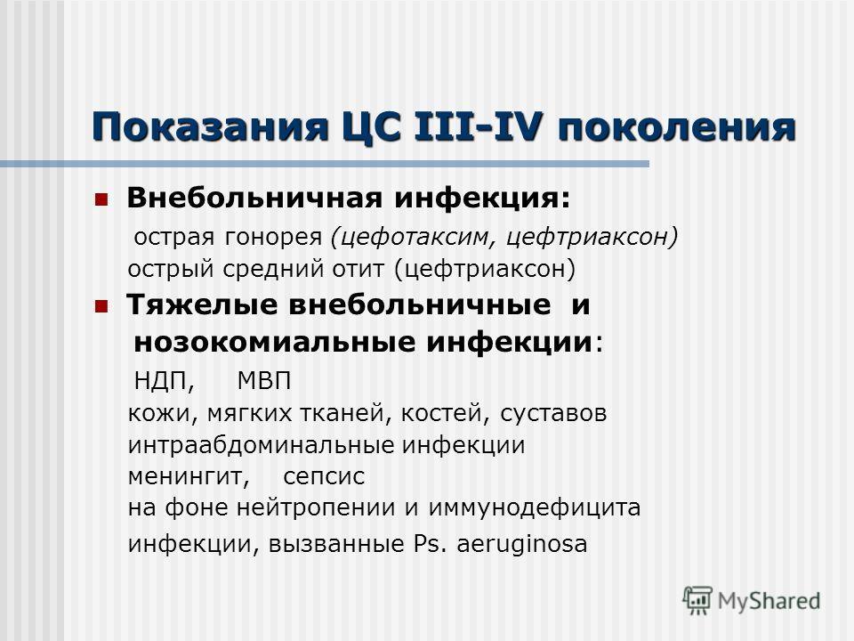 Показания ЦС III-IV поколения Внебольничная инфекция: острая гонорея (цефотаксим, цефтриаксон) острый средний отит (цефтриаксон) Тяжелые внебольничные и нозокомиальные инфекции: НДП, МВП кожи, мягких тканей, костей, суставов интраабдоминальные инфекц