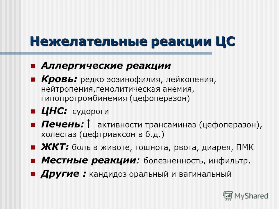 Нежелательные реакции ЦС Аллергические реакции Кровь: редко эозинофилия, лейкопения, нейтропения,гемолитическая анемия, гипопротромбинемия (цефоперазон) ЦНС: судороги Печень: активности трансаминаз (цефоперазон), холестаз (цефтриаксон в б.д.) ЖКТ: бо