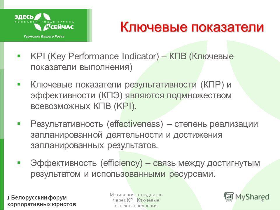 I Белорусский форум корпоративных юристов Ключевые показатели KPI (Key Performance Indicator) – КПВ (Ключевые показатели выполнения) Ключевые показатели результативности (КПР) и эффективности (КПЭ) являются подмножеством всевозможных КПВ (KPI). Резул