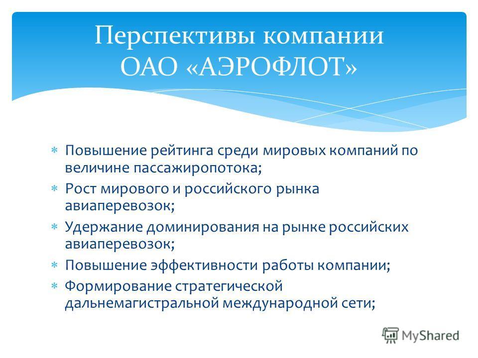 Повышение рейтинга среди мировых компаний по величине пассажиропотока; Рост мирового и российского рынка авиаперевозок; Удержание доминирования на рынке российских авиаперевозок; Повышение эффективности работы компании; Формирование стратегической да