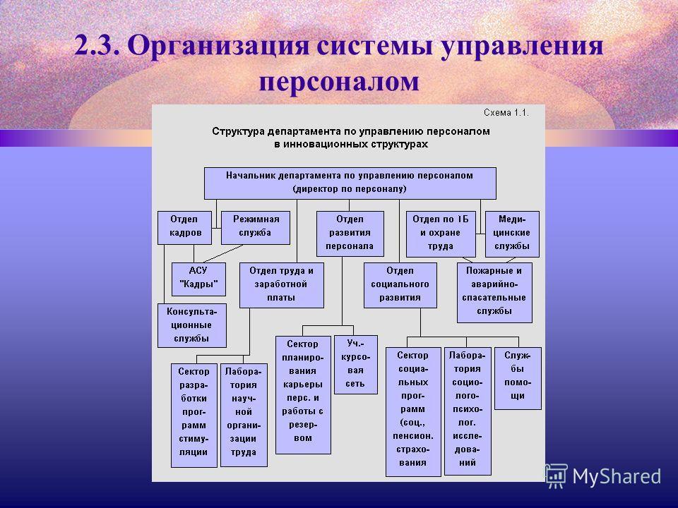 2.3. Организация системы управления персоналом