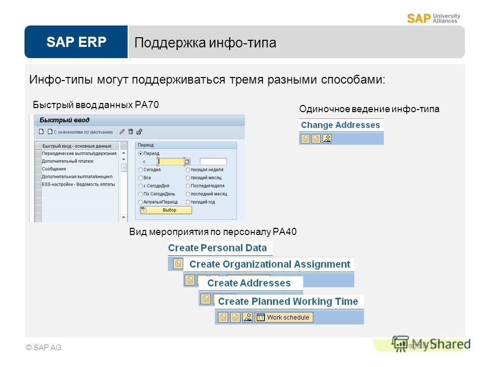 SAP ERP Page 8-17 © SAP AG Поддержка инфо-типа Одиночное ведение инфо-типа Вид мероприятия по персоналу PA40 Быстрый ввод данных PA70 Инфо-типы могут поддерживаться тремя разными способами: