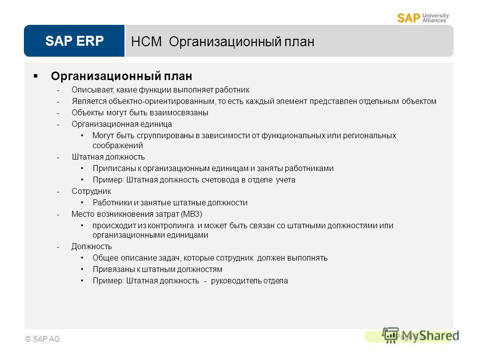 SAP ERP Page 8-9 © SAP AG HCM Организационный план Oрганизационный план -Описывает, какие функции выполняет работник -Является объектно-ориентированным, то есть каждый элемент представлен отдельным объектом -Объекты могут быть взаимосвязаны -Организа