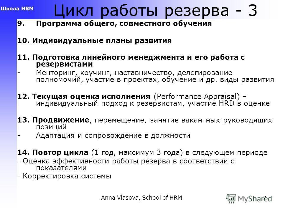 Anna Vlasova, School of HRM7 Цикл работы резерва - 3 9. Программа общего, совместного обучения 10. Индивидуальные планы развития 11. Подготовка линейного менеджмента и его работа с резервистами -Менторинг, коучинг, наставничество, делегирование полно