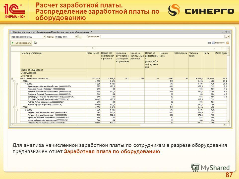 87 Расчет заработной платы. Распределение заработной платы по оборудованию Для анализа начисленной заработной платы по сотрудникам в разрезе оборудования предназначен отчет Заработная плата по оборудованию.