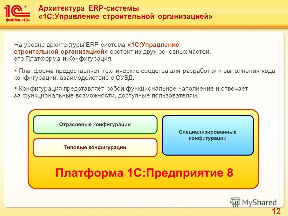 12 Архитектура ERP-системы «1С:Управление строительной организацией» На уровне архитектуры ERP-система «1С:Управление строительной организацией» состоит из двух основных частей, это Платформа и Конфигурация. Платформа предоставляет технические средст