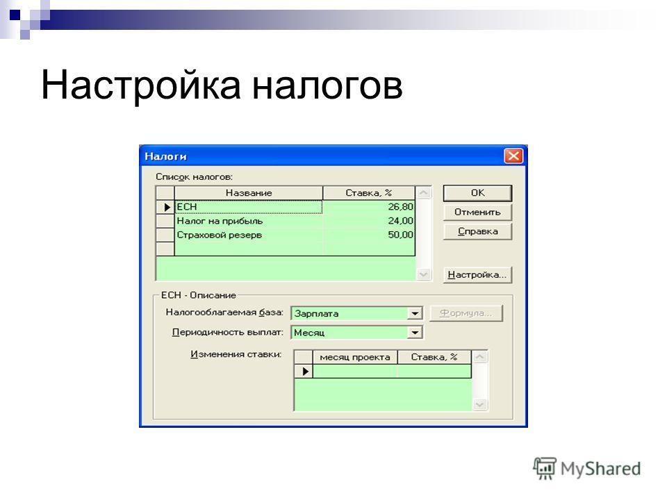 Настройка налогов © Митрофанов В.Р. (Институт управления, бизнеса и права)