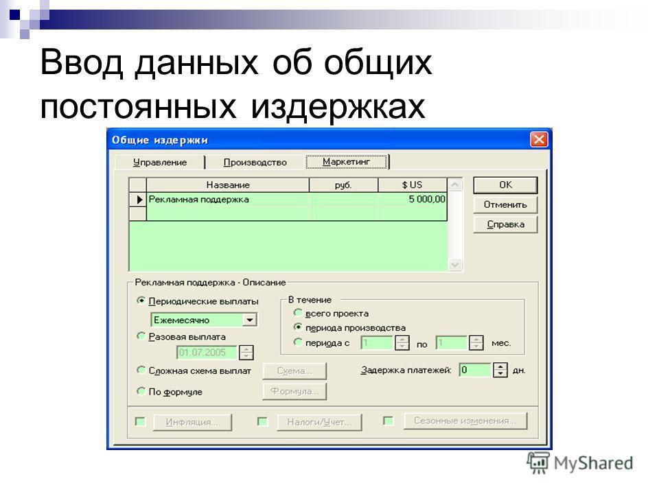 Ввод данных об общих постоянных издержках © Митрофанов В.Р. (Институт управления, бизнеса и права)