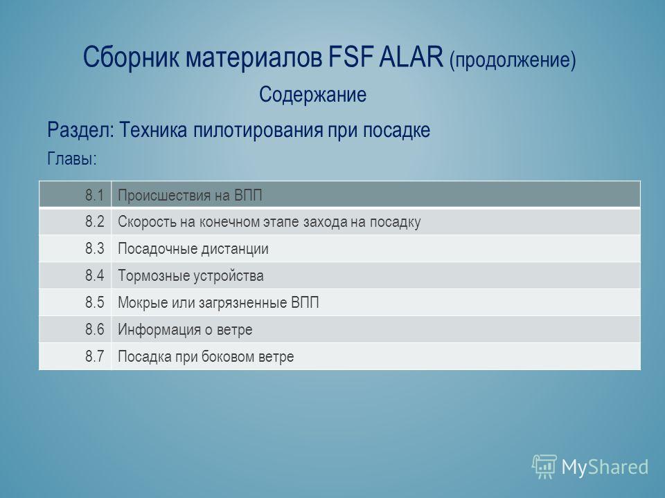 Сборник материалов FSF ALAR (продолжение) Раздел: Техника пилотирования при посадке Содержание Главы: 8.1Происшествия на ВПП 8.2Скорость на конечном этапе захода на посадку 8.3Посадочные дистанции 8.4Тормозные устройства 8.5Мокрые или загрязненные ВП