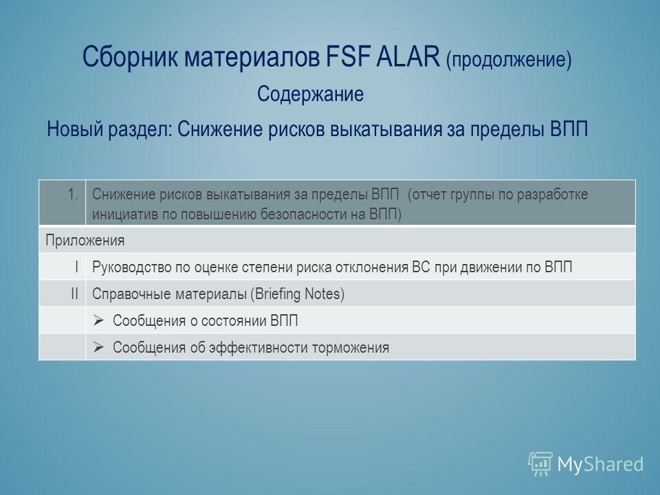 Сборник материалов FSF ALAR (продолжение) Новый раздел: Снижение рисков выкатывания за пределы ВПП Содержание 1. Снижение рисков выкатывания за пределы ВПП (отчет группы по разработке инициатив по повышению безопасности на ВПП) Приложения IРуководств