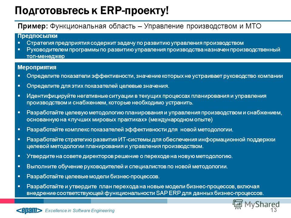 Excellence in Software Engineering 13 Подготовьтесь к ERP-проекту! Пример: Функциональная область – Управление производством и МТО Предпосылки Стратегия предприятия содержит задачу по развитию управления производством Руководителем программы по разви