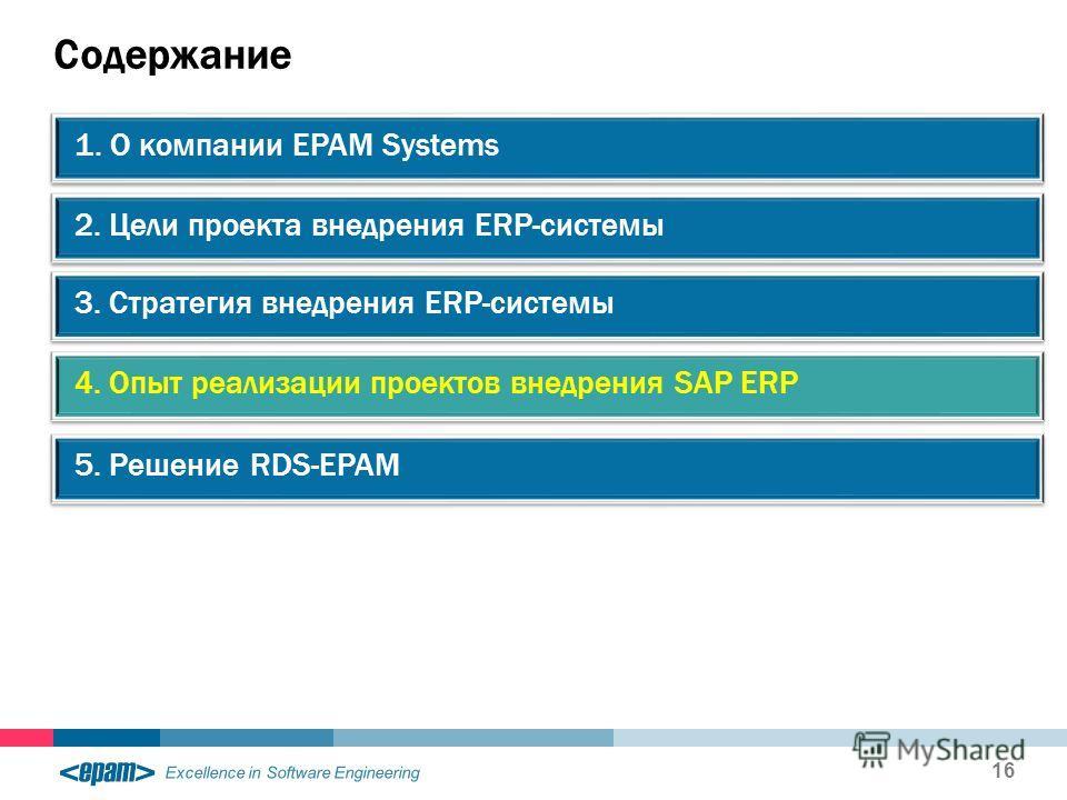 Excellence in Software Engineering Содержание 16 2. Цели проекта внедрения ERP-системы 1. О компании EPAM Systems 3. Стратегия внедрения ERP-системы 4. Опыт реализации проектов внедрения SAP ERP 5. Решение RDS-EPAM