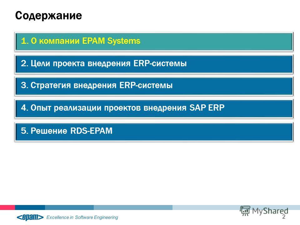 Excellence in Software Engineering Содержание 2 2. Цели проекта внедрения ERP-системы 1. О компании EPAM Systems 3. Стратегия внедрения ERP-системы 4. Опыт реализации проектов внедрения SAP ERP 5. Решение RDS-EPAM