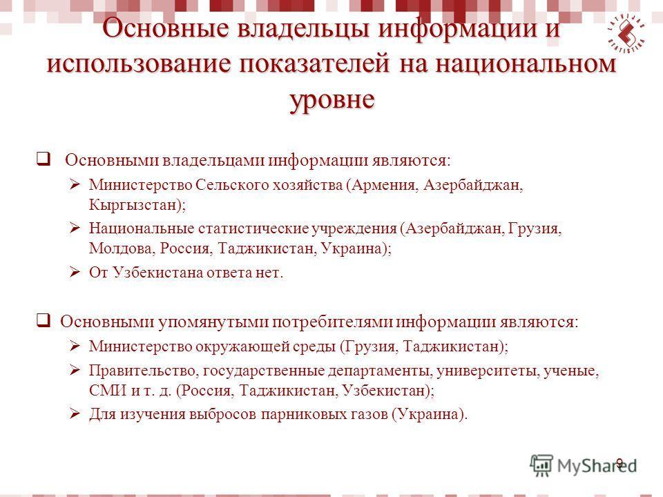 Основные владельцы информации и использование показателей на национальном уровне Основными владельцами информации являются: Министерство Сельского хозяйства (Армения, Азербайджан, Кыргызстан); Национальные статистические учреждения (Азербайджан, Груз