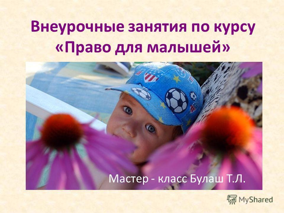 Внеурочные занятия по курсу «Право для малышей» Мастер - класс Булаш Т.Л.