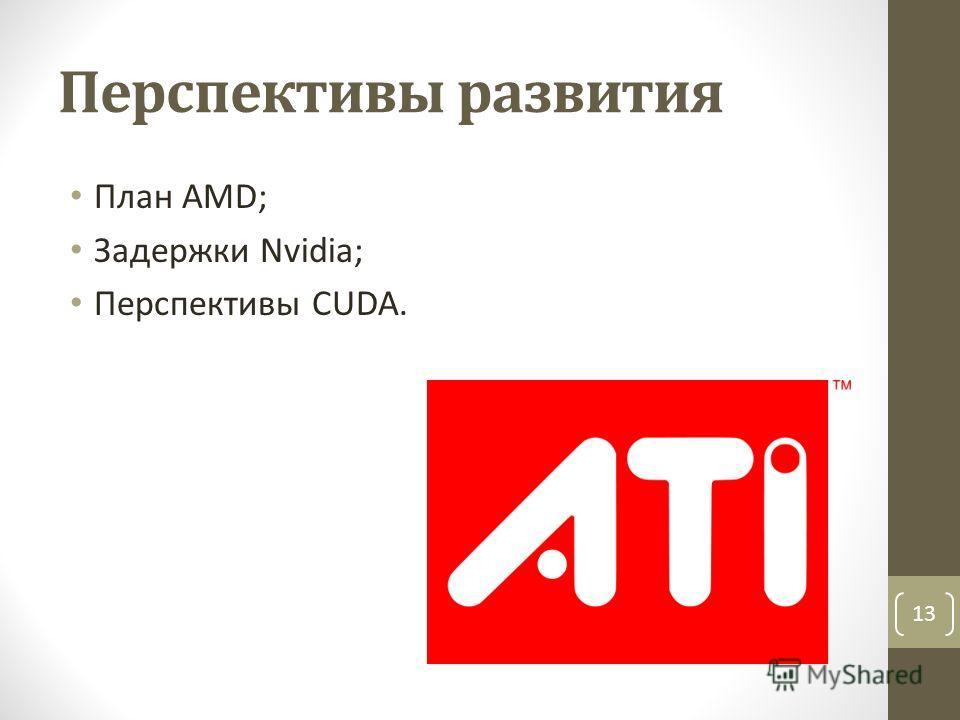 Перспективы развития План AMD; Задержки Nvidia; Перспективы CUDA. 13