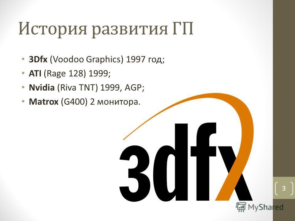 История развития ГП 3Dfx (Voodoo Graphics) 1997 год; ATI (Rage 128) 1999; Nvidia (Riva TNT) 1999, AGP; Matrox (G400) 2 монитора. 3