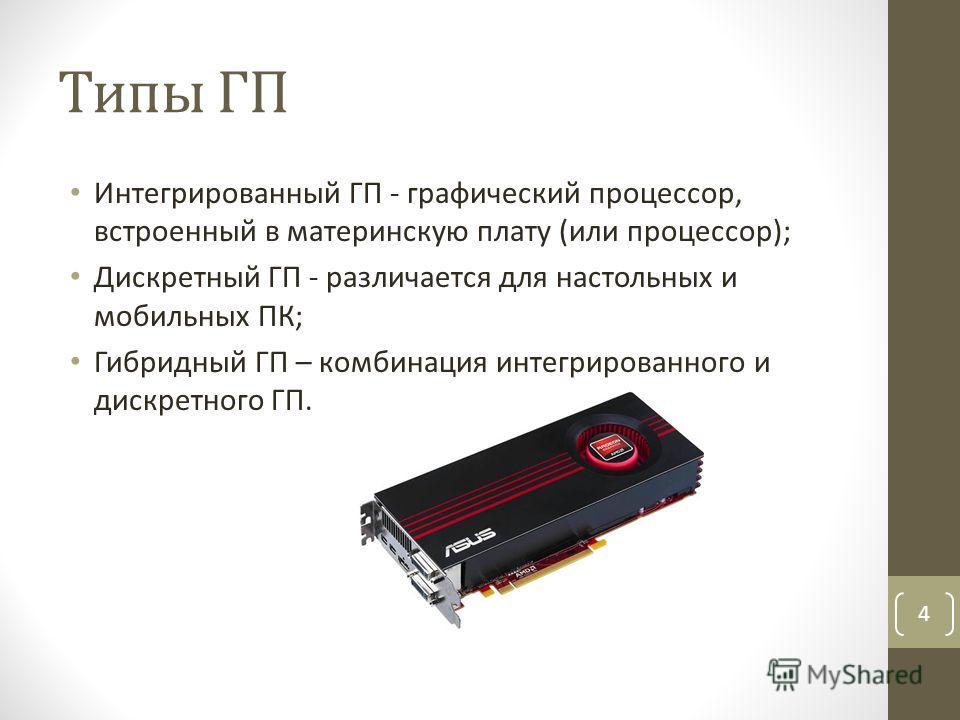 Типы ГП Интегрированный ГП - графический процессор, встроенный в материнскую плату (или процессор); Дискретный ГП - различается для настольных и мобильных ПК; Гибридный ГП – комбинация интегрированного и дискретного ГП. 4