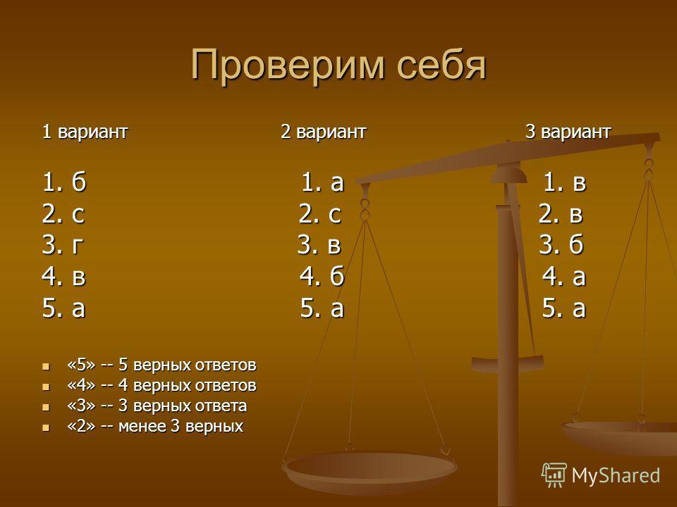 Проверим себя 1 вариант 2 вариант 3 вариант 1. б 1. а 1. в 2. с 2. с 2. в 3. г 3. в 3. б 4. в 4. б 4. а 5. а 5. а 5. а «5» -- 5 верных ответов «5» -- 5 верных ответов «4» -- 4 верных ответов «4» -- 4 верных ответов «3» -- 3 верных ответа «3» -- 3 вер
