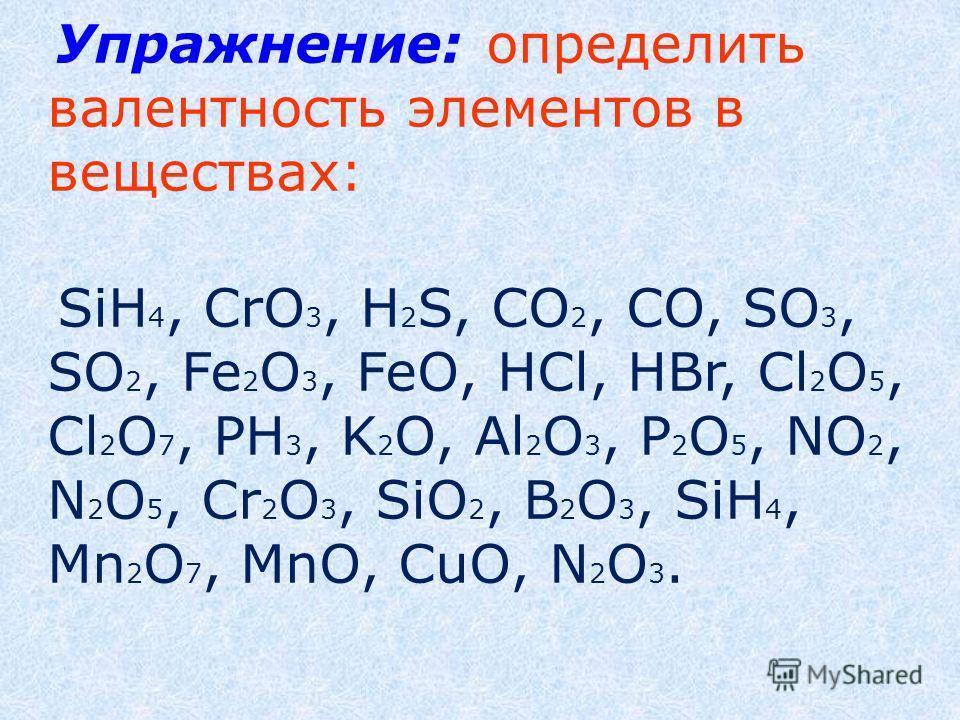 Упражнение: определить валентность элементов в веществах: SiH 4, CrO 3, H 2 S, CO 2, CO, SO 3, SO 2, Fe 2 O 3, FeO, HCl, HBr, Cl 2 O 5, Cl 2 O 7, РН 3, K 2 O, Al 2 O 3, P 2 O 5, NO 2, N 2 O 5, Cr 2 O 3, SiO 2, B 2 O 3, SiH 4, Mn 2 O 7, MnO, CuO, N 2