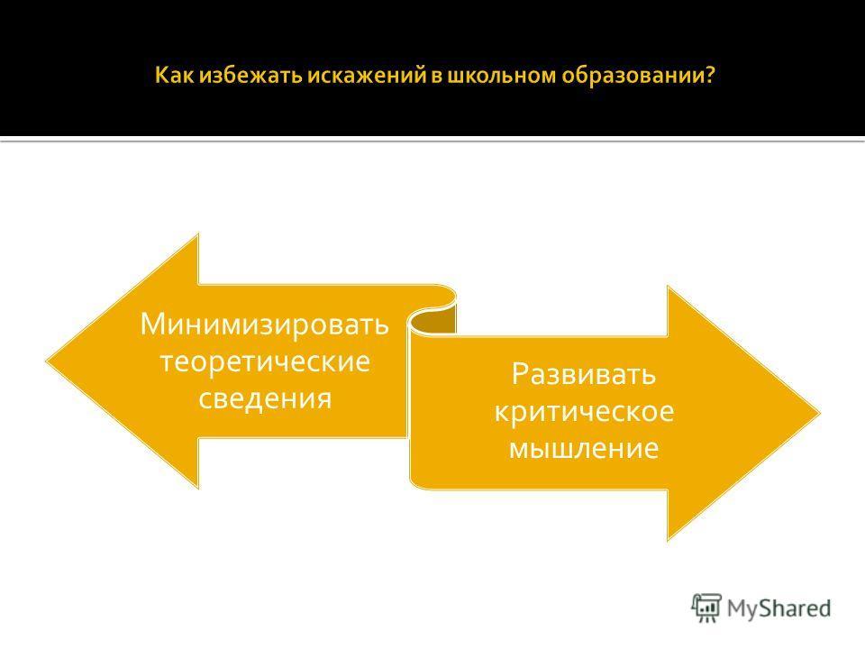 Минимизировать теоретические сведения Развивать критическое мышление
