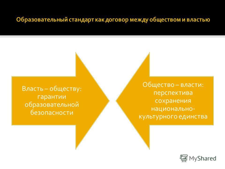 Власть – обществу: гарантии образовательной безопасности Общество – власти: перспектива сохранения национально- культурного единства