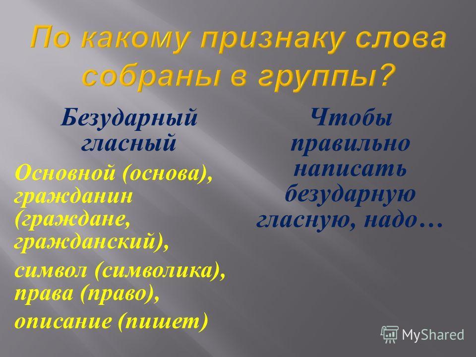Безударный гласный Основной ( основа ), гражданин ( граждане, гражданский ), символ ( символика ), права ( право ), описание ( пишет ) Чтобы правильно написать безударную гласную, надо …