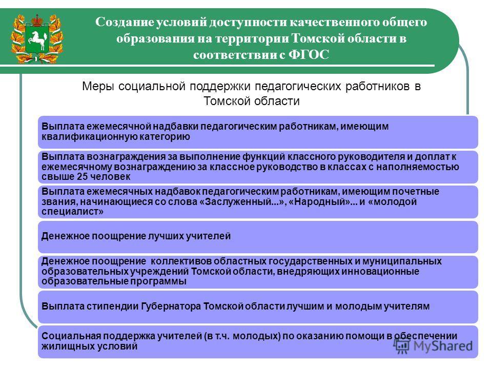 Создание условий доступности качественного общего образования на территории Томской области в соответствии с ФГОС Выплата ежемесячной надбавки педагогическим работникам, имеющим квалификационную категорию Выплата вознаграждения за выполнение функций