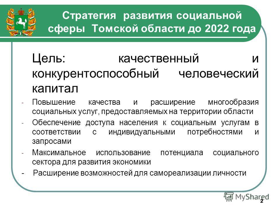 Стратегия развития социальной сферы Томской области до 2022 года 2 Цель: качественный и конкурентоспособный человеческий капитал - Повышение качества и расширение многообразия социальных услуг, предоставляемых на территории области - Обеспечение дост
