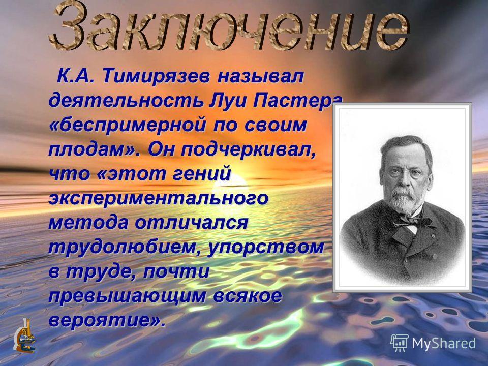 К К.А. Тимирязев называл деятельность Луи Пмастера «беспримерной по своим плодам». Он подчеркивал, что «этот гений экспериментального метода отличался трудолюбием, упорством в труде, почти превышающим всякое вероятие».