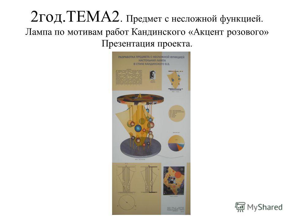 2 год.ТЕМА2. Предмет с несложной функцией. Лампа по мотивам работ Кандинского «Акцент розового» Презентация проекта.