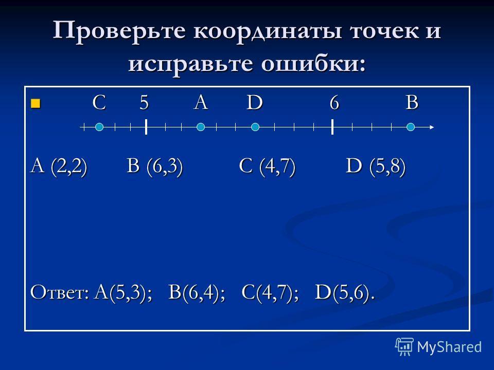 Проверьте координаты точек и исправьте ошибки: С С 5 А D 6 6 В А (2,2) B (6,3) C C (4,7) D D (5,8) Ответ: А(5,3); B(6,4); C C(4,7); D D(5,6).