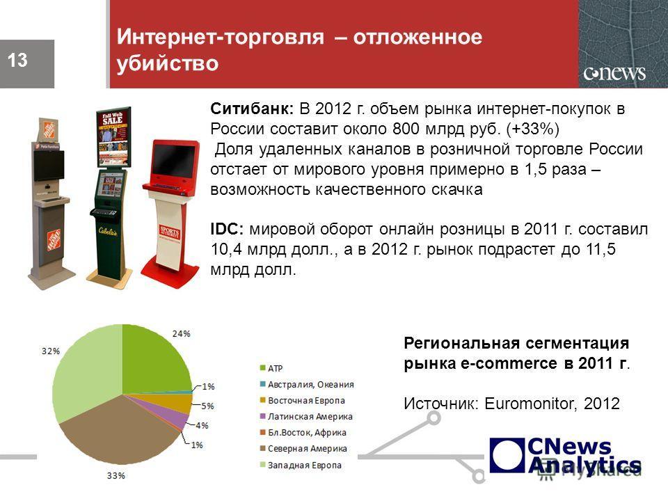13 Интернет-торговля – отложенное убийство 13 Ситибанк: В 2012 г. объем рынка интернет-покупок в России составит около 800 млрд руб. (+33%) Доля удаленных каналов в розничной торговле России отстает от мирового уровня примерно в 1,5 раза – возможност