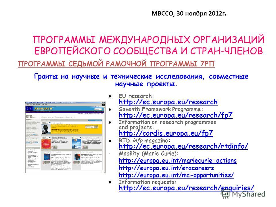 ПРОГРАММЫ МЕЖДУНАРОДНЫХ ОРГАНИЗАЦИЙ ЕВРОПЕЙСКОГО СООБЩЕСТВА И СТРАН-ЧЛЕНОВ Гранты на научные и технические исследования, совместные научные проекты. EU research: http://ec.europa.eu/research http://ec.europa.eu/research Seventh Framework Programme: h