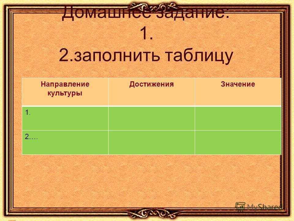 Домашнее задание: 1. 2. заполнить таблицу Направление культуры Достижения Значение 1. 2….