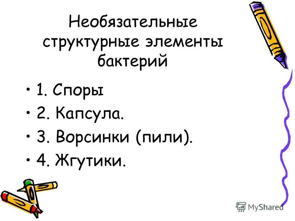 Необязательные структурные элементы бактерий 1. Споры 2. Капсула. 3. Ворсинки (пили). 4. Жгутики.