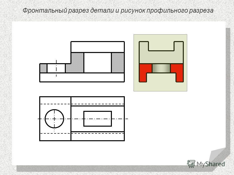 Фронтальный разрез детали и рисунок профильного разреза