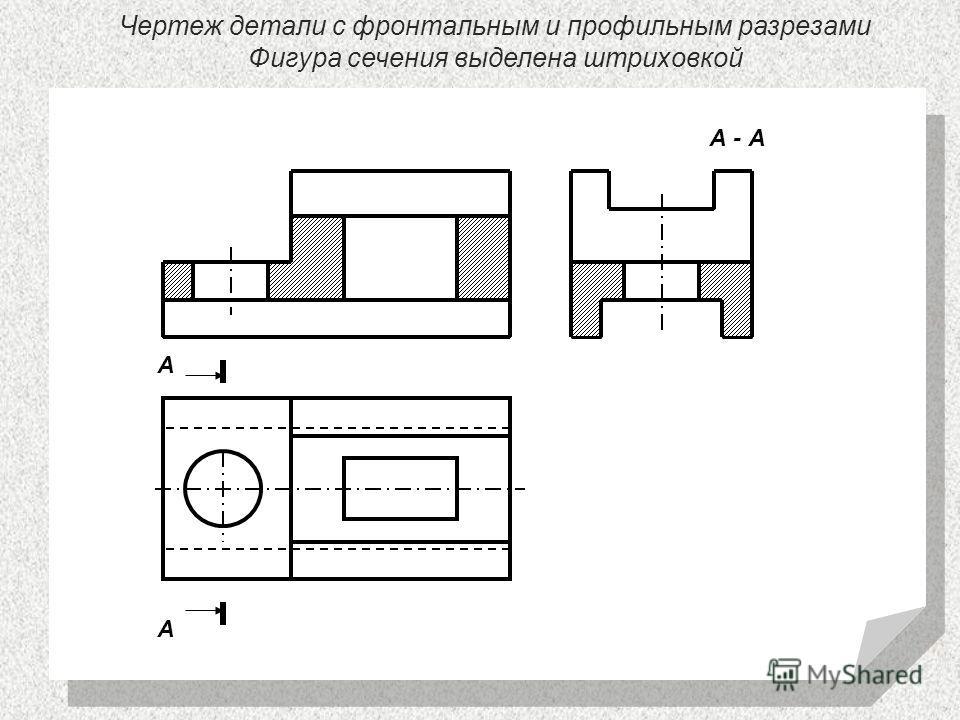 Чертеж детали с фронтальным и профильным разрезами Фигура сечения выделена штриховкой А - А А А