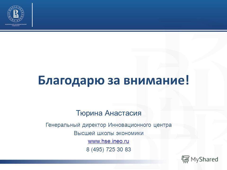 Благодарю за внимание! Тюрина Анастасия Генеральный директор Инновационного центра Высшей школы экономики www.hse.ineo.ru 8 (495) 725 30 83