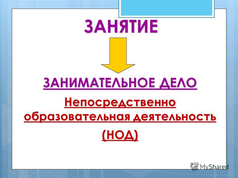 ЗАНЯТИЕ ЗАНИМАТЕЛЬНОЕ ДЕЛО Непосредственно образовательная деятельность (НОД)