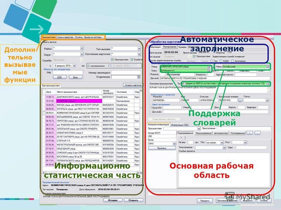 Основная рабочая область Поддержка словарей Автоматическое заполнение Дополни тельно вызываемые функции Информационно статистическая часть