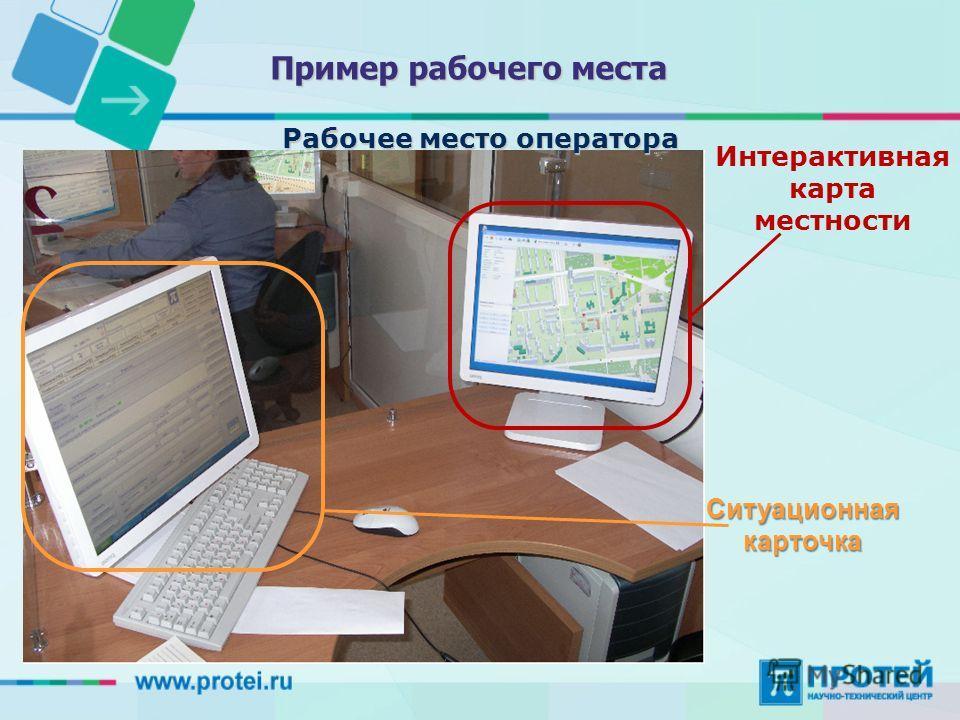 Рабочее место оператора Пример рабочего места Интерактивная карта местности Ситуационная карточка